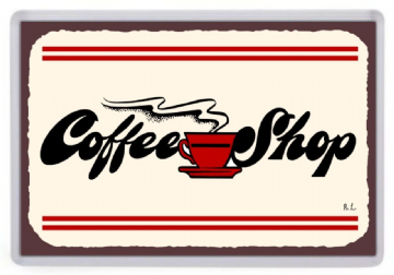 Coffee Shop Retro Sign Fridge Magnet.